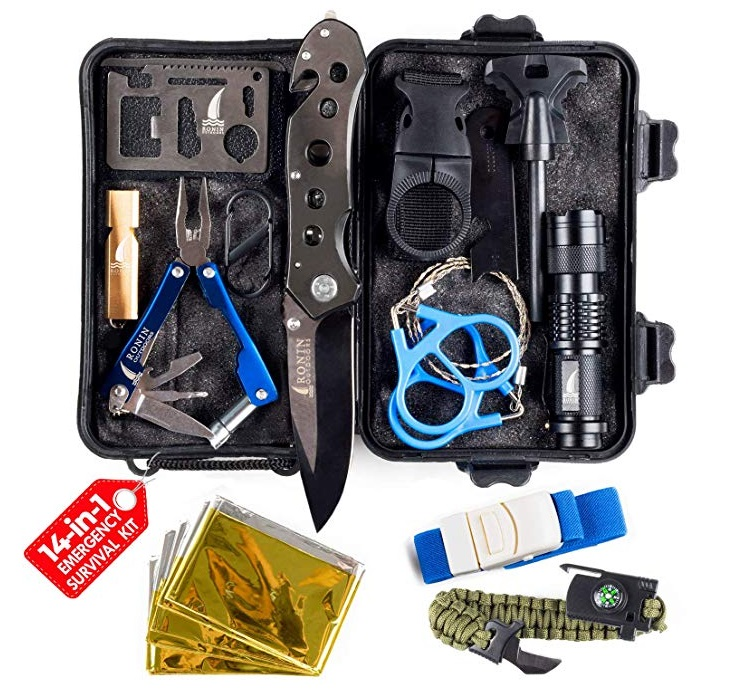Best Emergency Survival Kits - Ronin Outdoors Camping Gear Tactical Survival Kit 14 in 1