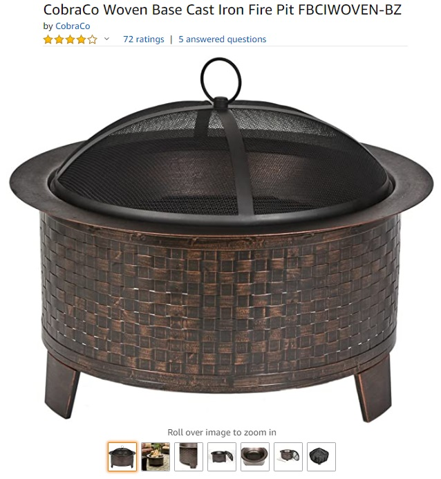 CobraCo Woven Base Cast Iron Fire Pit FBCIWOVEN-BZ