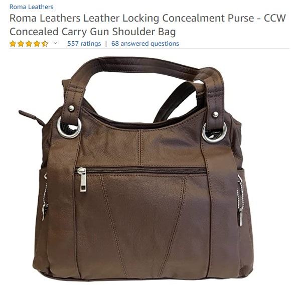 Roma Leathers Leather Locking Concealment Purse - CCW Concealed Carry Gun Shoulder Bag