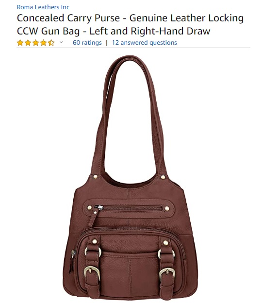Roma Leathers Leather Locking Concealment Purse - CCW Concealed Carry Gun Purse - Left or Right Hand Draw