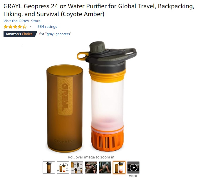 GRAYL Geopress Water Purifier